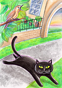 Fantasy Tree Pastels Posters - A Black Cat And A Singing Bird Poster by Raffaella Di Vaio