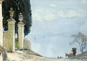 Italian Landscape Painting Prints - A Blue Day on Como Print by Joseph Walter West