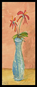 Works Drawings Originals - A blue vase with red flowers  by Cathy Peterson