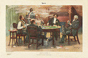 Card Players Prints - A Bluff - in Chicago Print by Thur De Thulstrup