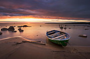 Horizon Pyrography Metal Prints - A boat at the sunset Metal Print by Anna Grigorjeva