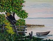 Canoe Painting Posters - A boat waiting 2 Poster by Marilyn  McNish