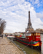Narrow Boats Framed Prints - A Boats View of the Eiffel Tower Framed Print by Mark E Tisdale