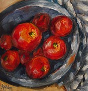 Tomatos Painting Framed Prints - A Bowl of The Best Framed Print by Angela Sullivan