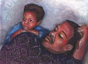 African-american Pastels Framed Prints - A Boy and His Dad Framed Print by Alga Washington