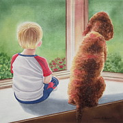 Deborah Prints - A Boy and His Dog Print by Deborah Ronglien
