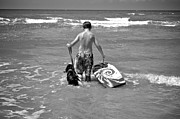 Humorous Greeting Cards Posters - A Boy and His Dog Go Surfing Poster by Kristina Deane
