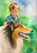 Collie Painting Framed Prints - A Boy and his Dog Framed Print by Judith A Johnson