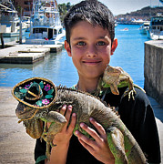 A Boy And His Iguanas Print by Amy Fearn