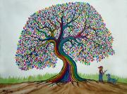 Fantasy Tree Art Paintings - A boy his dog and Rainbow tree dreams by Nick Gustafson