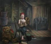 Toy Animals Framed Prints - A Boy In The Attic With Old Relics Framed Print by Pete Stec