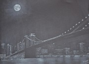 Brooklyn Bridge Drawings Posters - A Bridge Nearby Poster by David Swope