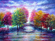 Kinkade Framed Prints - A Bridge to Cross Framed Print by Ann Marie Bone