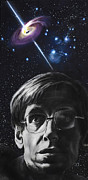 Portrait Framed Prints - A Brief History of Time- Stephen Hawking Framed Print by Simon Kregar