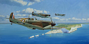 Spitfire Painting Prints - A Brief Respite Print by Steven Heyen