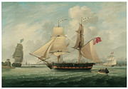 Liverpool Painting Posters - A Brig Entering Liverpool Poster by John Jenkinson