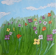 Colorful Floral Gardens Paintings - A Bright and Breezy Day by Anastasia Ely