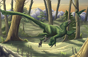 Dromaeosaurid Prints - A Bright Green Velociraptor Runs Print by Emily Willoughby