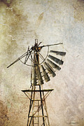 Photomanipulation Digital Art Prints - A Broken Windmill Print by Penny Roberts