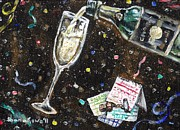 Cork Screw Paintings - A Bubbly New Year by Shana Rowe