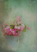 Charming Cottage Prints - A Bucketful of Pink Cottage Garden Flowers Print by Carla Parris