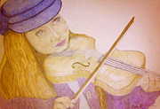 Pencil Artwork Drawings Prints - A Budding Virtuoso  Print by Melissa Nankervis