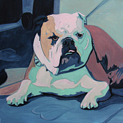 English Bulldog Paintings - A Bulldog In Love by Xueling Zou