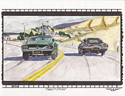 Car Chase Posters - A Bullitt is Fired Poster by Austin Gemberling