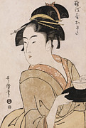 Woodcut Paintings - A Bust Portrait of the Waitress Okita of the Naniwaya Teahouse by Kitagawa Utamaro