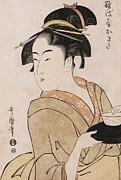 Kitagawa Utamaro - A Bust Portrait of the Waitress Okita of the Naniwaya Teahouse