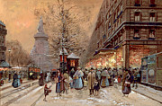 Winter Scene Painting Prints - A Busy Boulevard near the Place de la Republique Paris Print by Eugene Galien-Laloue