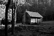 Log Cabins Framed Prints - A Cabin In The Woods BW Framed Print by Mel Steinhauer