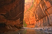 Zion National Park Framed Prints - A Calm Virgin In The Narrows Framed Print by Adam Jewell