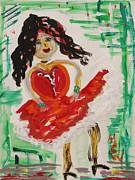 Dancer Art Drawings Posters - A Can Can Dancer Poster by Mary Carol Williams