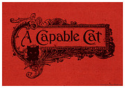 Plaque Drawings Prints - A Capable Cat Sign. Red Print by Pierpont Bay Archives