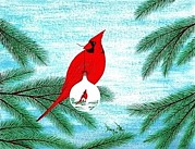 Movie Art Paintings - A Cardinal To Remember A Christmas To Remember by Doug Miller