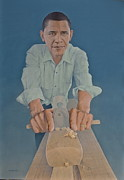 Barack Obama Oil Paintings - A Carpenter Chinese Citizen Barack Obama  by Tu Guohong