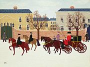 Police Christmas Card Paintings - A Carriage Escorted by Police by Vincent Haddelsey