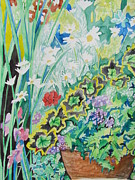 Impressionism Acrylic Prints Art - A Cascade of Flowers by Esther Newman-Cohen