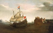 Old Sailing Ship Paintings - A Castle With A Dutch Ship Sailing Nearby by Hendrick Cornelisz Vroom