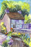 Great Britain Drawings - A Castleton Cottage in UK by Carol Wisniewski