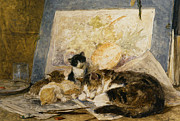 Henriette Prints - A Cat And Her Kittens Print by Henriette Ronner Knip