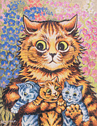 Yellow Eyes Posters - A Cat with her Kittens Poster by Louis Wain