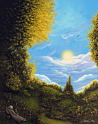 Swing Art Paintings - A Chat With Mr Katz. Fantasy Landscape Fairytale Art By Philippe Fernandez by Philippe Fernandez