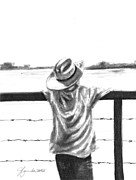 Fence Drawings - A Child On A Farm by J Ferwerda