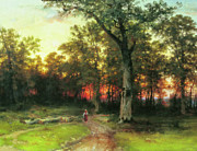 Oak Trees Paintings - A Child Walks In A Forest by Zeana Romanovna