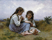 The Two Sisters Art - A Childhood Idyll by William Bouguereau