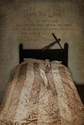 Bed Quilt Posters - A Childs Prayer Poster by Robin-lee Vieira
