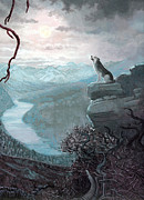Wolf Howling Paintings - A Chilling Cry by Elaine Bawden