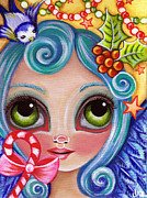 Blue Eyed Girl Prints - A Christmas Angel Print by Jaz Higgins